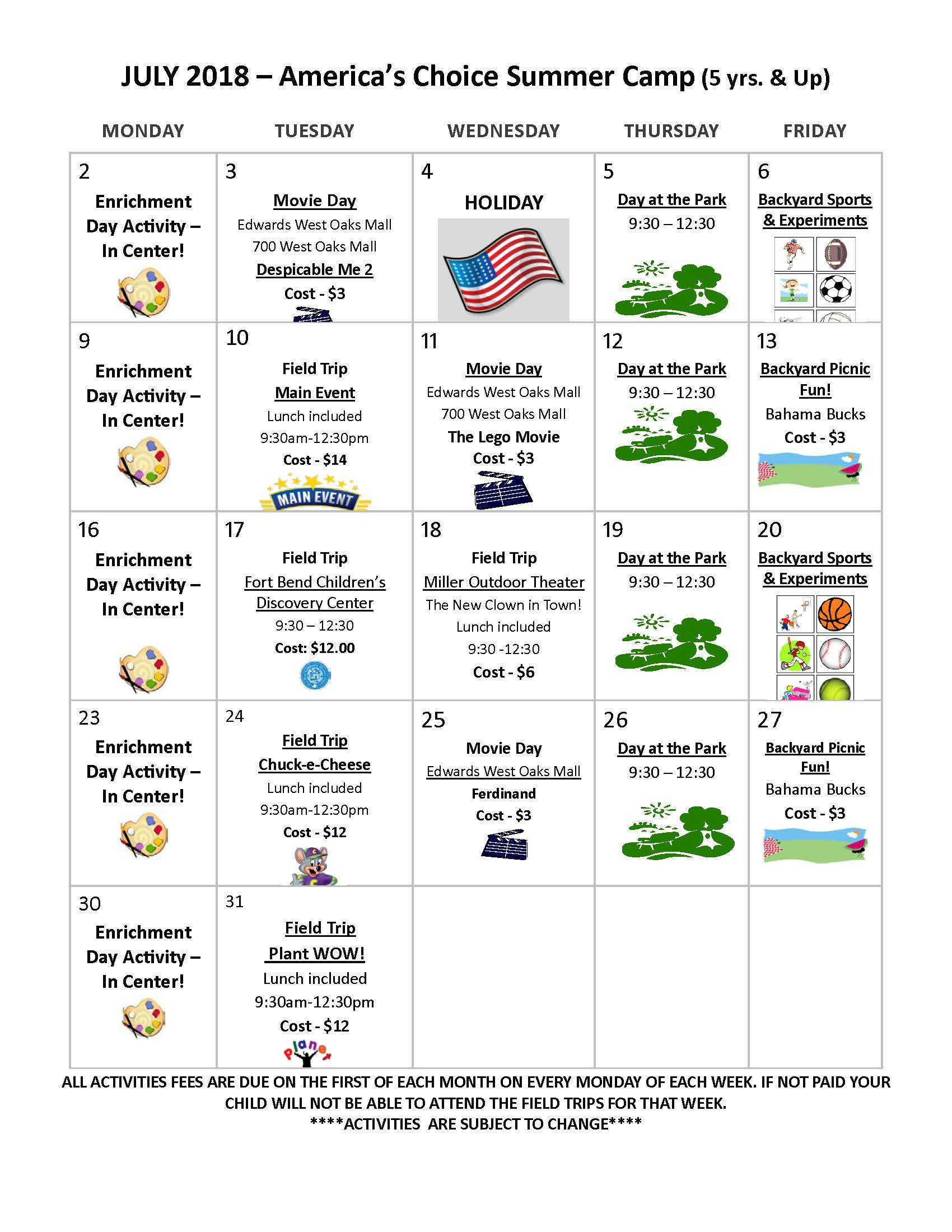 Daycare Summer Camp Schedule
